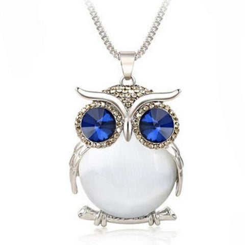 Woman Silver Owl Rhinestone Crystal Pendant Necklace Long Sweater Chain Jewelry