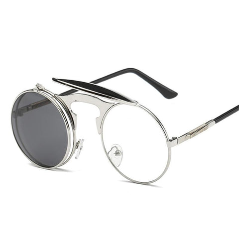 Vintage Steampunk Round Double Sunglasses