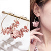 Image of Flower Pending Hoop Earrings