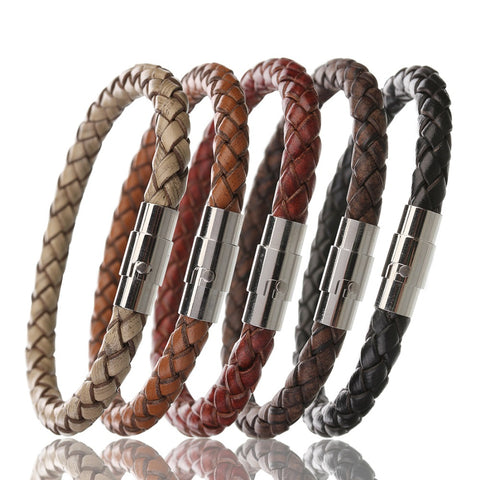 Men Braided Leather Bracelet Slim