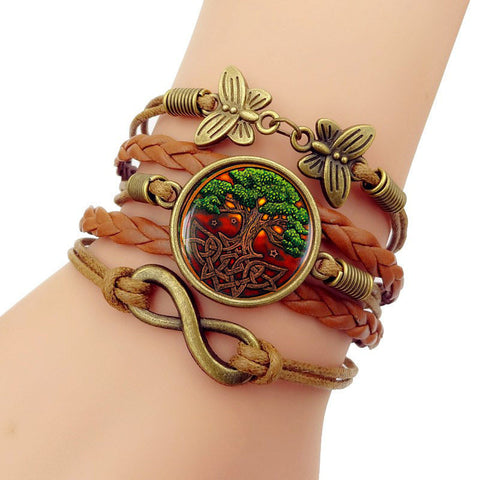Leather bracelet Celtic Tree of life Vintage