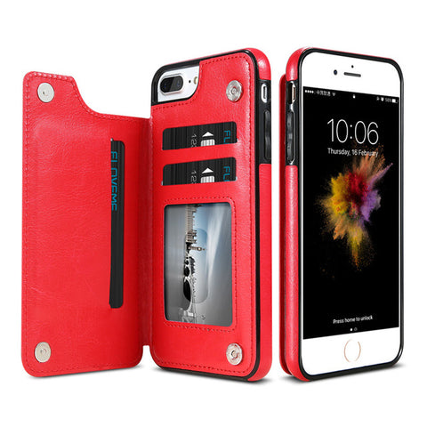 Magnetic Leather Wallet Phone Case for iPhones
