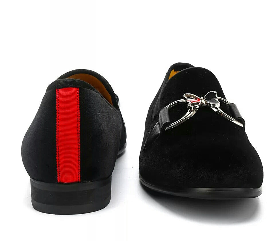 Men Black Butterfly Buckle Loafers