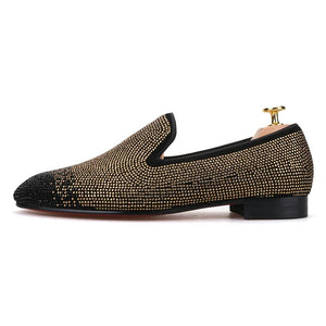 Men black Gold Loafers