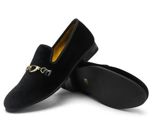 Men Gold Buckle Loafers