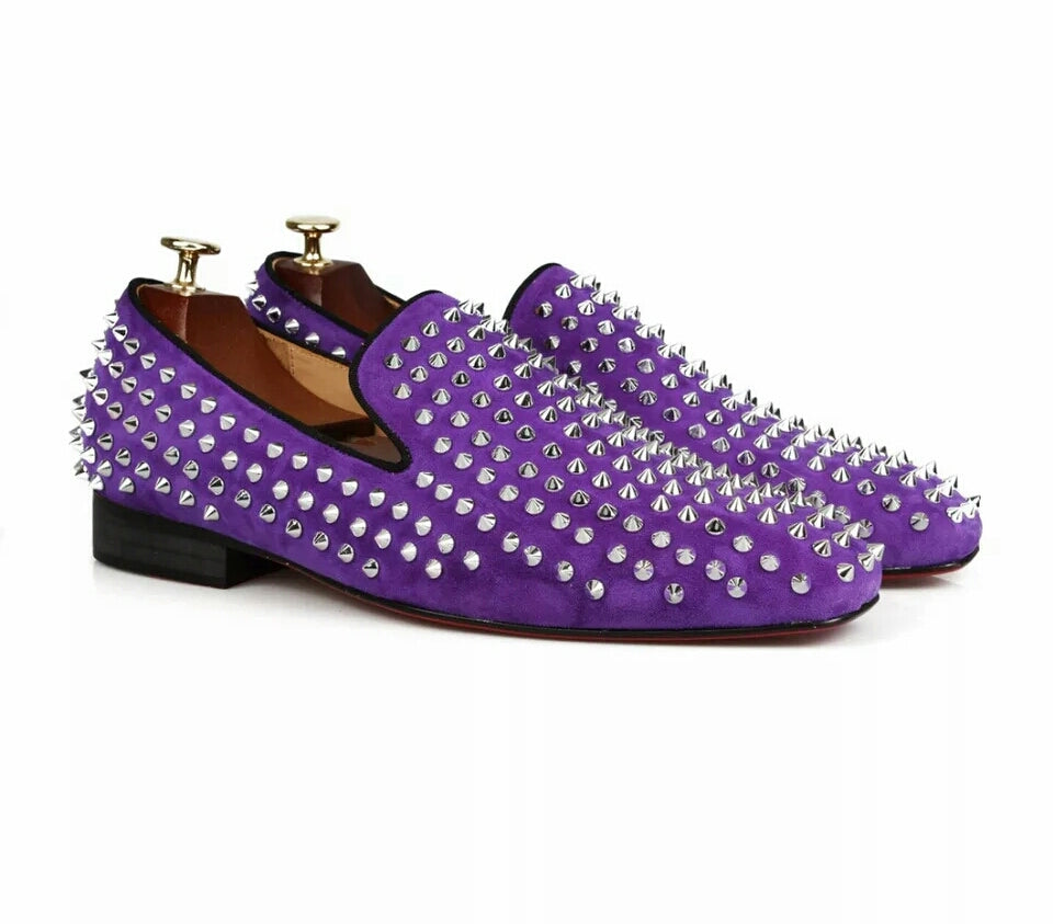 Men's Handmade Studded Spikes Loafers