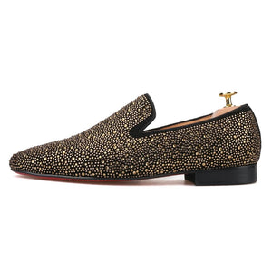 Men Gold Rhinestone Loafers