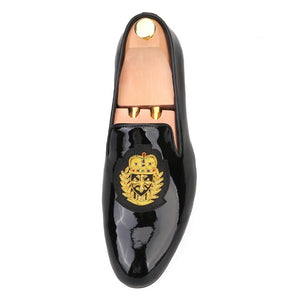 Men embroidery Black Loafers