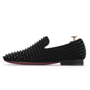 Men black spikes loafers