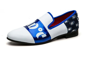 Men White Blue Loafers