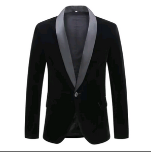 Men Black Velvet Lapel Blazer