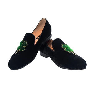 Men's Lucky clover embroidered velvet Loafers
