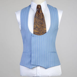 Men's Sky Blue Suit + Vest + Pants