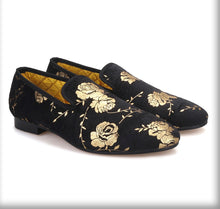 Men's Black flower print Loafers