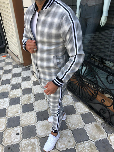 Men's Gray White Jacket and Pants Set