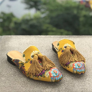 Men's Gold Embroidery Slippers