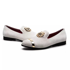 Men's White Buckle Loafers