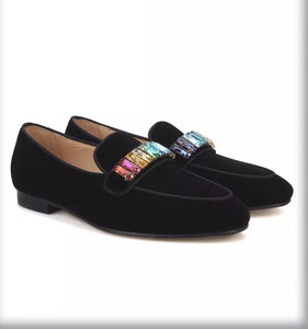 Men black velvet multi rhinestone loafers