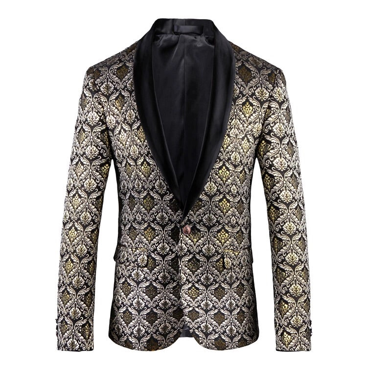 Men Gold Floral Blazer