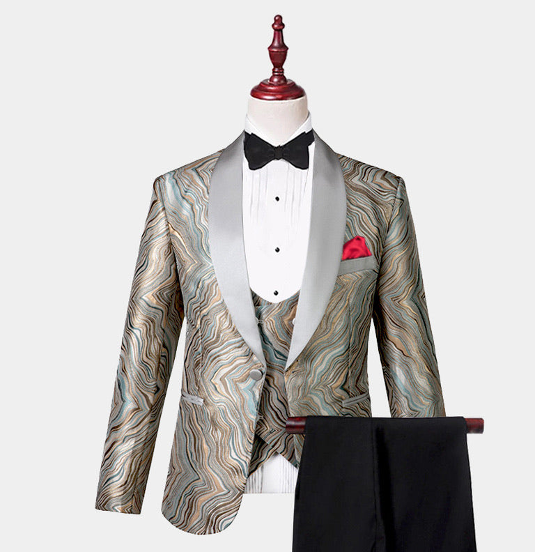 Men 3 Piece Gray Gold Tuxedo