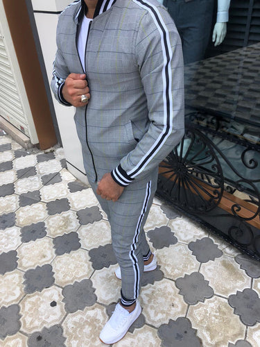 Men's Lime Gray black Jacket and Pants Set