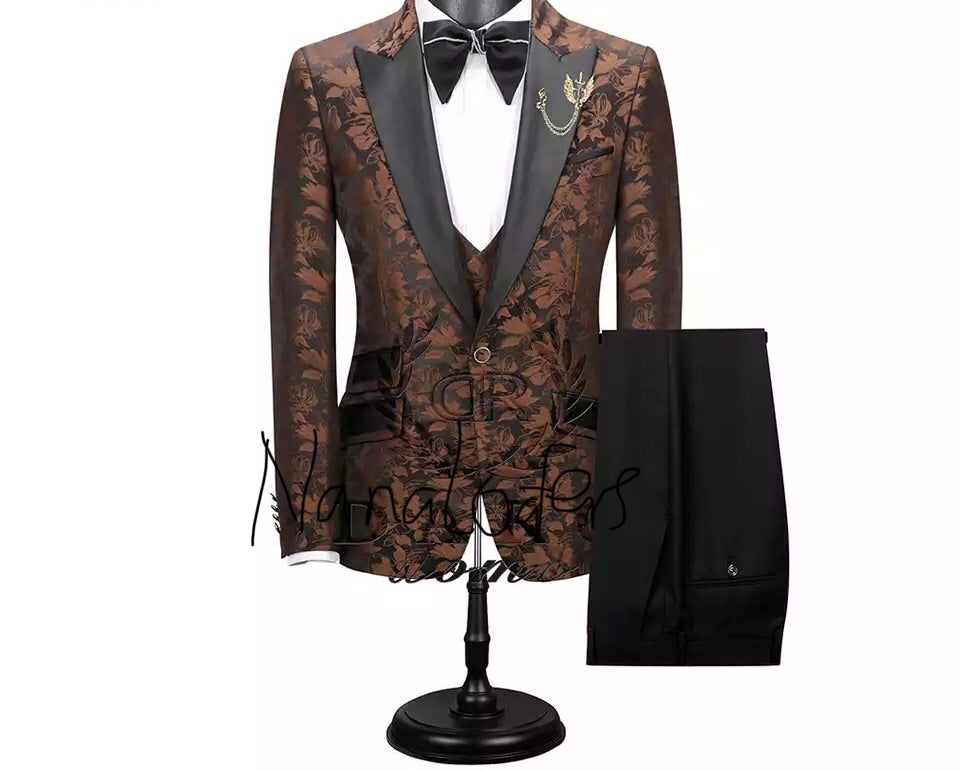 Men's Custom Brown Gold 3 Piece Suit