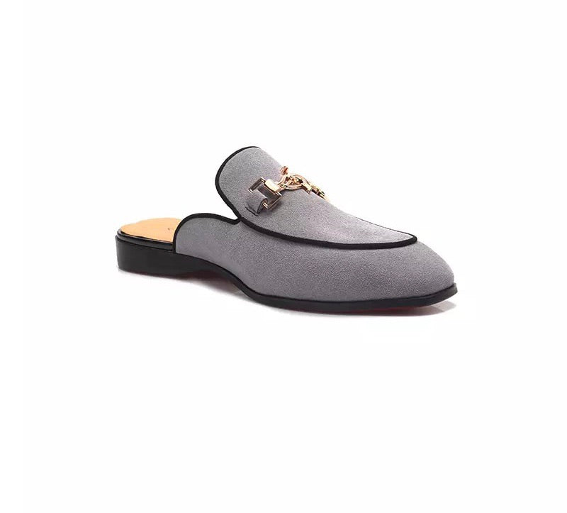 Men's Gray Buckle Loafers