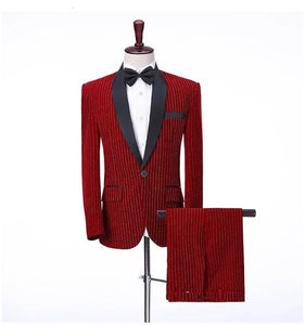 Men's 3 Piece Burgundy Velvet Strip Suit