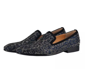 Men's Navy Blue Leopard Rhinestone Loafers