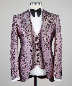 Men's Pink Black 3 Piece Polk dot Tuxedo