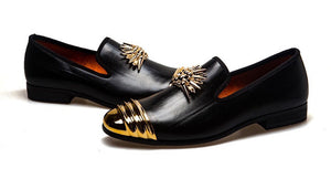 Men Black Genuine Leather Loafers