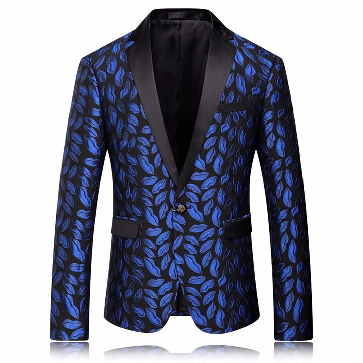 Mens Royal Blue Printed Blazer