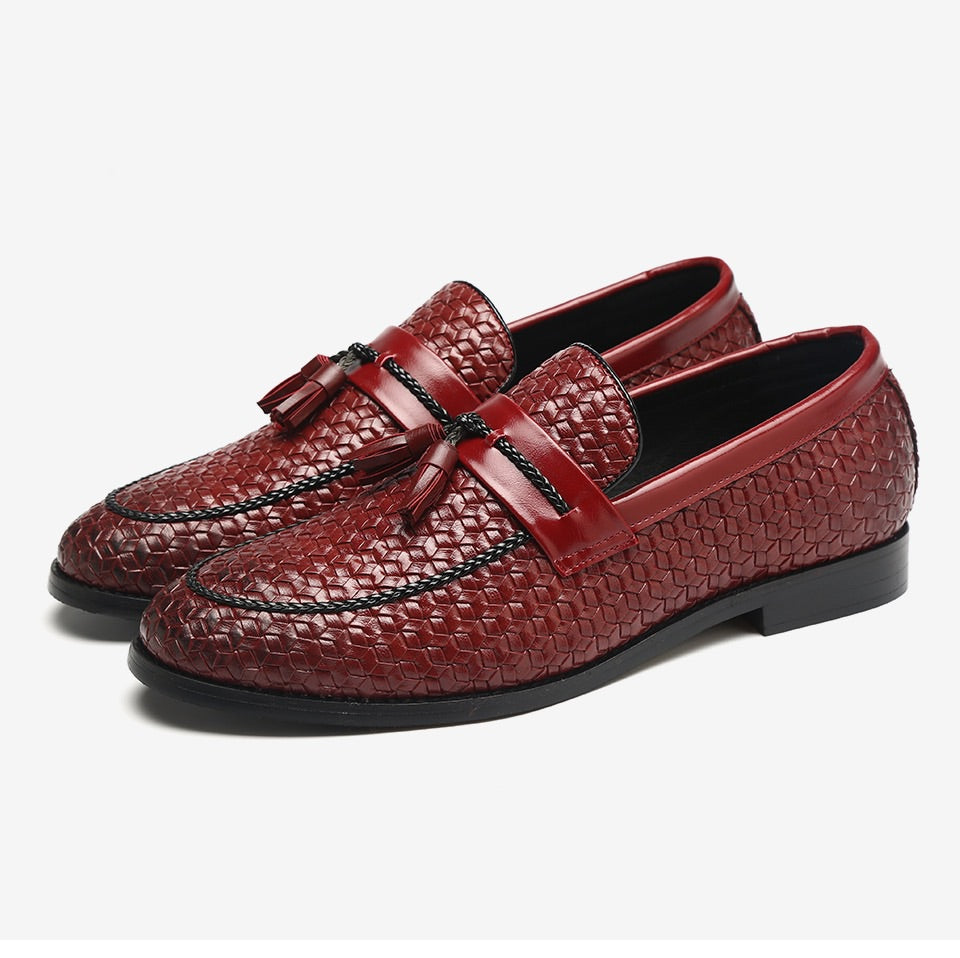 Men's Wine Red Leather Loafers