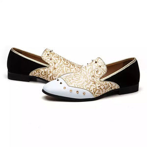 Men Leather Gold White Loafers