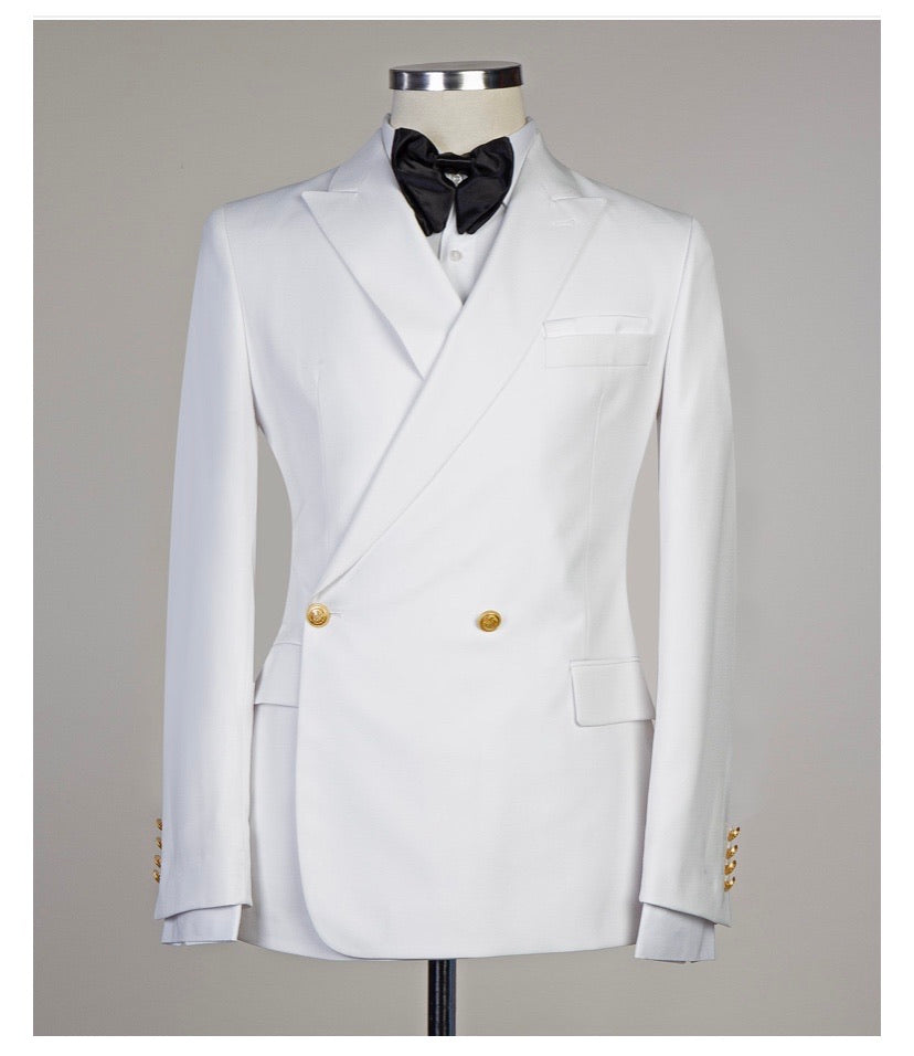 Men's White DOUBLE BREASTED SUIT