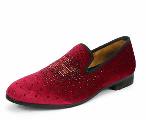 Men Red Velvet Loafers