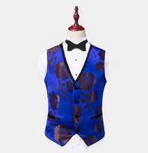 Men Royal Blue Floral 3 Piece Tuxedo