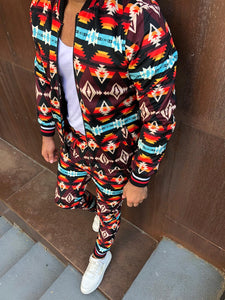 Men's Print Jacket and Pants Set