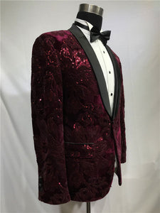 Men's Wine Red tuxedo +black Pants