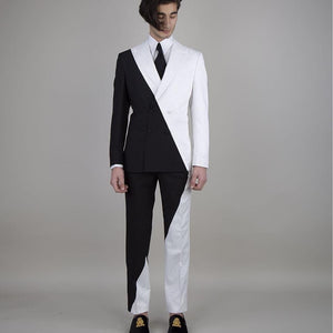 Men's Black White 2 Piece Suit