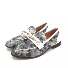 Men's White floral Leather loafers