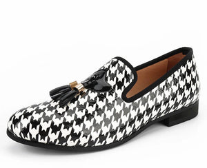 Men White Leather Print Loafers