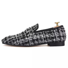Men's knit Black White tassel Loafers