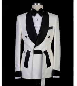 Men's White Tuxedo Black lapel  + Pants