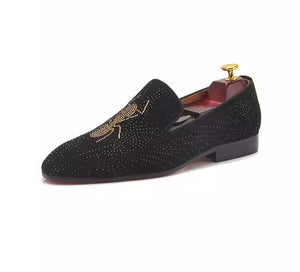 Men's Rhinestone Black Loafers