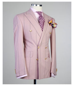 Men's Peach DOUBLE BREASTED SUIT
