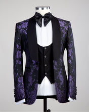 Men Black Purple Tuxedo + Pants