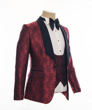 Men's Burgundy Black Lapel 3 Piece Tuxedo