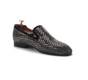 Men's Gray Rhinestone Loafers