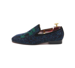 Men's Blue Rhinestone Loafers